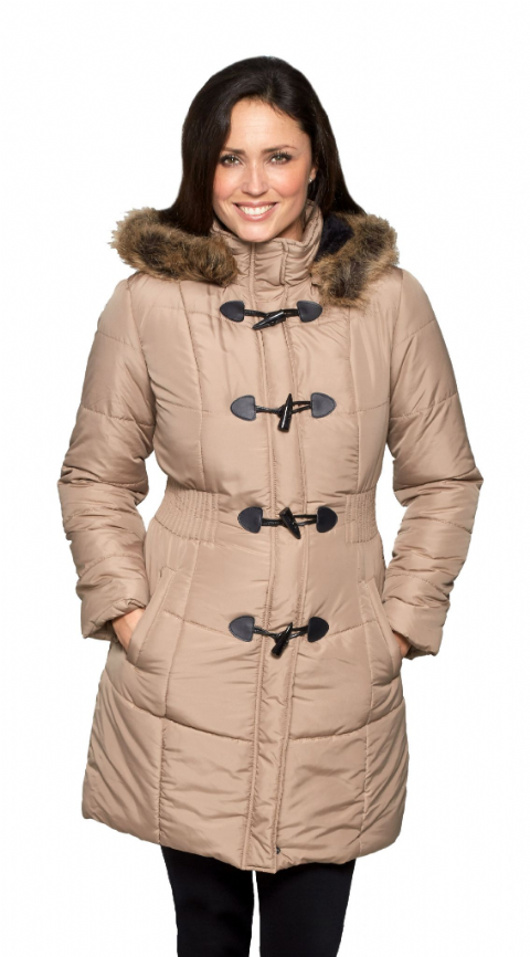 Womens Taupe Warm Padded Parka Coat db3759